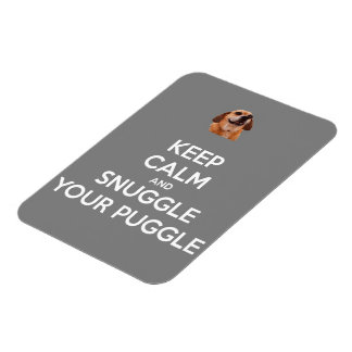 Keep Calm and Snuggle Your Puggle MAGNET - Gray