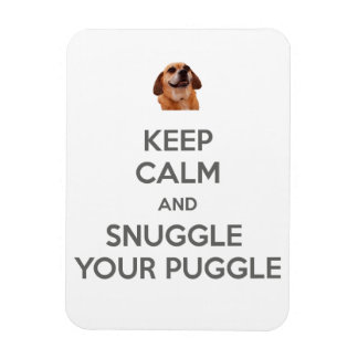 Keep Calm and Snuggle Your Puggle MAGNET - White