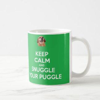 Keep Calm and Snuggle Your Puggle MUG - Green