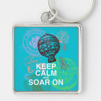 Keep Calm and Soar On fun art print Silver-Colored Square Keychain
