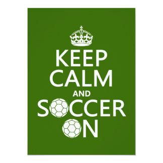 """Keep Calm and Soccer On 5.5"""" X 7.5"""" Invitation Card"""