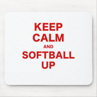 Keep Calm and Softball Up Mouse Pad