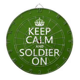 Keep Calm and Soldier On (any background color) Dartboard With Darts