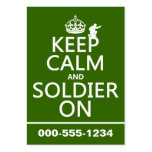 Keep Calm and Soldier On (any background color) Large Business Cards (Pack Of 100)