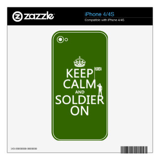 Keep Calm and Soldier On (UK flag)(any color) iPhone 4S Decals