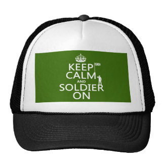 Keep Calm and Soldier On (UK flag)(any color) Trucker Hat