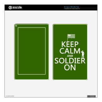 Keep Calm and Soldier On (US flag) (any color) Decal For Kindle Fire