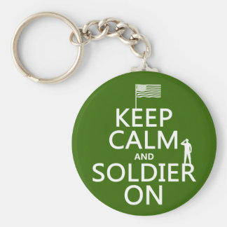 Keep Calm and Soldier On (US flag) (any color) Keychain