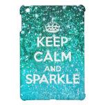 Keep Calm and Sparkle Aqua Glitter LookLike Case For The iPad Mini