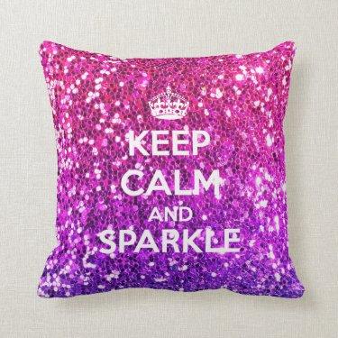 Keep Calm and Sparkle Glitter LookLike Rainbow Pillow