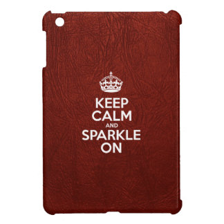 Keep Calm and Sparkle On - Glossy Red Leather Cover For The iPad Mini