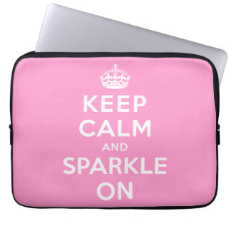 Keep Calm and Sparkle On Laptop Computer Sleeves