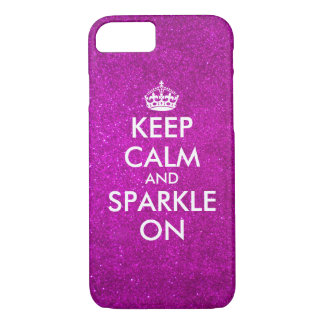 Keep calm and sparkle pink glitter iPhone 7 case