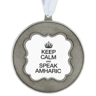 KEEP CALM AND SPEAK AMHARIC SCALLOPED ORNAMENT
