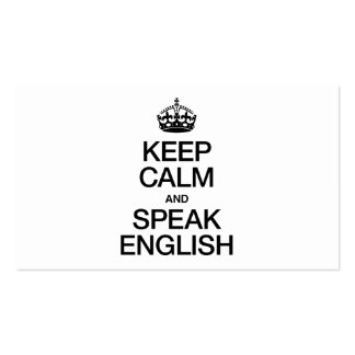 KEEP CALM AND SPEAK ENGLISH Double-Sided STANDARD BUSINESS CARDS (Pack OF 100)