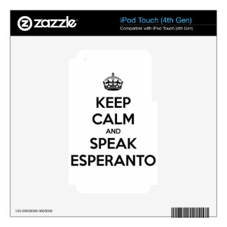 KEEP CALM AND SPEAK ESPERANTO DECALS FOR iPod TOUCH 4G