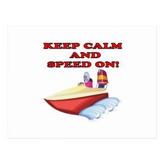 Keep Calm And Speed On Postcard