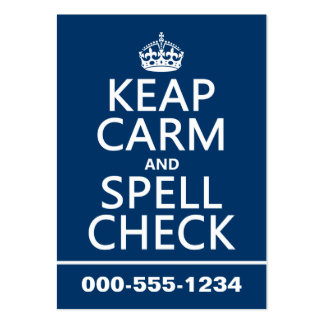 Keep Calm and Spell Check (with errors)(any color) Large Business Cards (Pack Of 100)