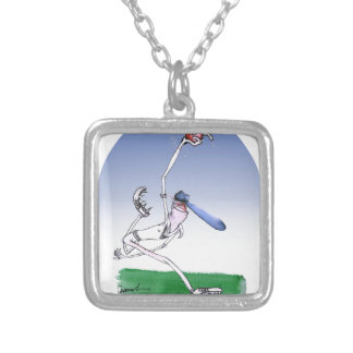 keep calm and spin that ball, tony fernandes silver plated necklace