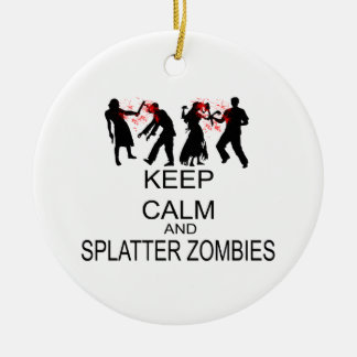 Keep Calm And Splatter Zombies Double-Sided Ceramic Round Christmas Ornament
