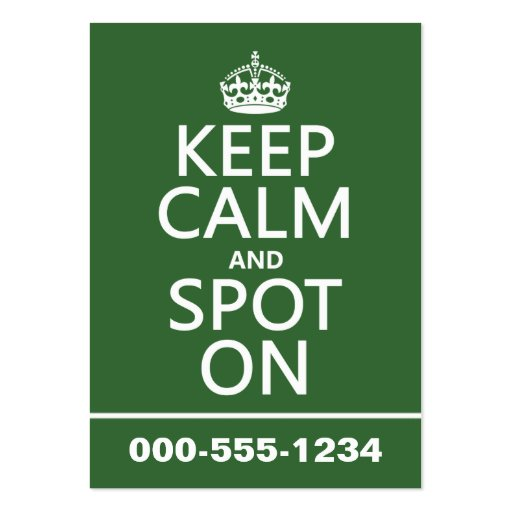 Keep Calm and Spot On (customize colours) Large Business Cards (Pack Of 100)