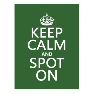 Keep Calm and Spot On (customize colours) Postcard