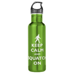 Water Bottle (24 oz) with Keep Calm and Squatch On design