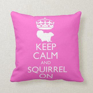 Keep Calm and Squirrel Throw Pillows