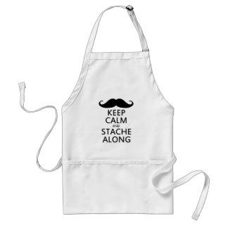 Keep Calm and Stache Along Aprons