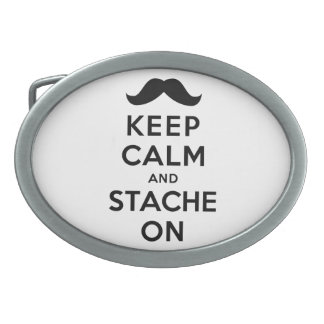 Keep Calm and Stache On Oval Belt Buckles