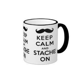 Keep calm and stache on black ringer mug