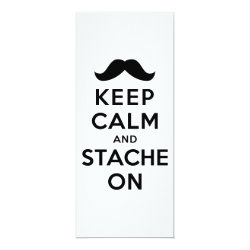 4' x 9.25' Invitation / Flat Card with Keep Calm and Stach On design