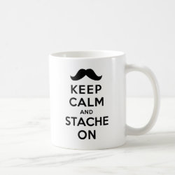 Classic White Mug with Keep Calm and Stache On design