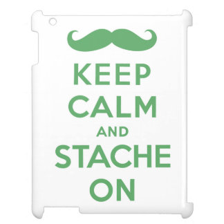 Keep calm and stache on green cover for the iPad