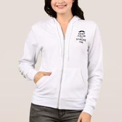 Women's Bella+Canvas Full-Zip Hoodie with Keep Calm and Stache On design