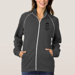 Women's American Apparel California Fleece Track Jacket with Keep Calm and Stache On design
