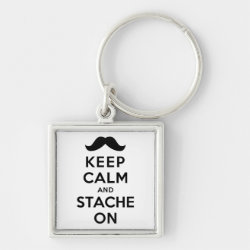 Premium Square Keychain with Keep Calm and Stach On design