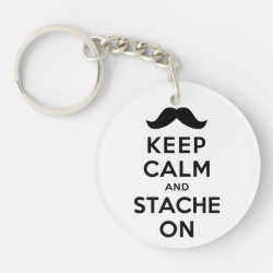 Circle Keychain (double-sided) with Keep Calm and Stach On design