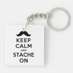 Square Keychain (double-sided) with Keep Calm and Stach On design