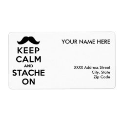 Shipping Label with Keep Calm and Stache On design