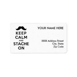 Address Label with Keep Calm and Stache On design