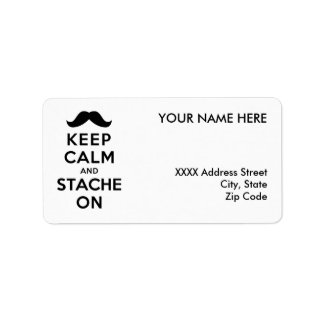 Keep Calm and Stache On Custom Address Label