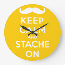 Large Round Wall Clock with Keep Calm and Stach On design