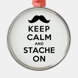 Premium circle Ornament with Keep Calm and Stach On design