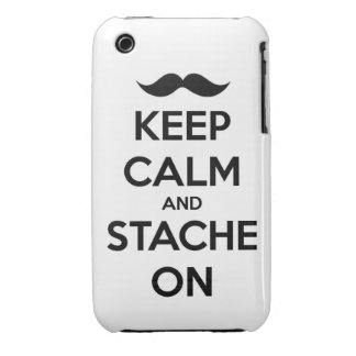 Keep Calm and stache on mustache funny facial hair iPhone 3 Cases