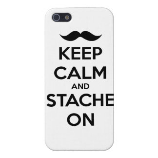 Keep Calm and stache on mustache funny facial hair Case For iPhone SE/5/5s