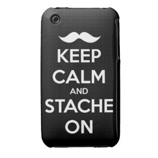 Keep Calm and stache on mustache funny facial hair Case-Mate iPhone 3 Case