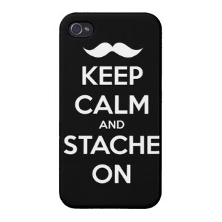 Keep Calm and stache on mustache funny facial hair iPhone 4/4S Cover