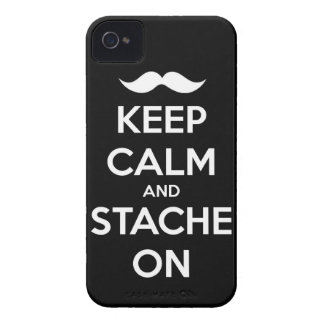 Keep Calm and stache on mustache funny facial hair iPhone 4 Case-Mate Case