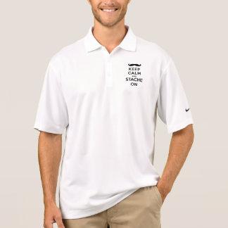 Keep calm and stache on polo shirt